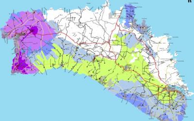 Mapa del contingut de clorurs a l'aigua de Menorca