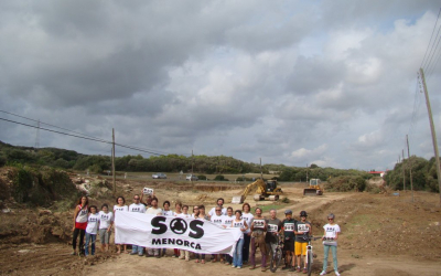 Acció de protesta a l'inici de les obres