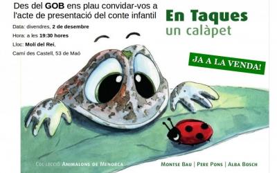 Cartell de la presentació del nou conte infantil. En Taques, un calàpet