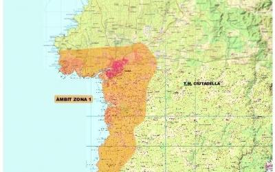 Àrea de distribució a la zona de Ciutadella