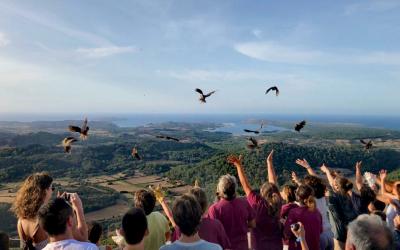 Voluntaris del Centre de Recuperació alliberant mussols al Toro
