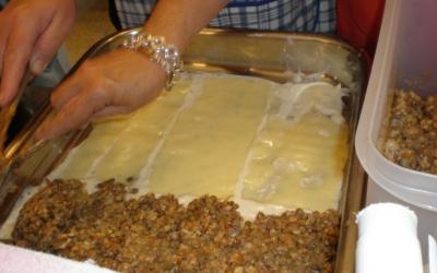 Lassanya d'arròs i llenties i també de seitan i tempeh