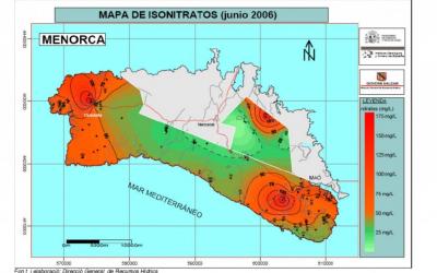 Mapa del contingut de nitrats a l'aigua de Menorca, l'any 2006