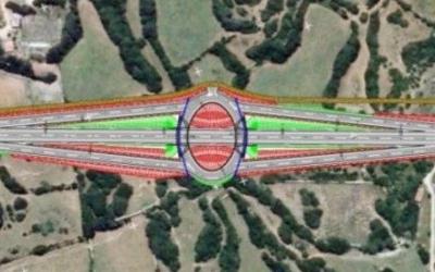 Rotonda a doble nivell prevista a l'alçada de Biniai, on no hi ha cap encreuement